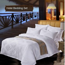 100% Egyptian Cotton Jacquard White Hotel Bedding Sets