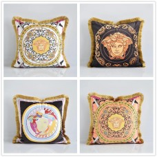 Thickened Dutch Velvet Tassel Printed Cushion Cover