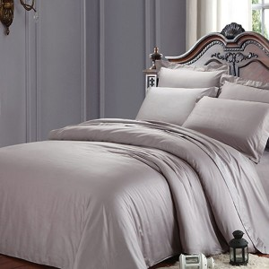 Gray Color Cotton 300TC Hotel King/Queen Bedding Set /Comforter Set