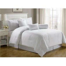 high quality Hotel Dobby Stripe Comforter Set, Queen, White